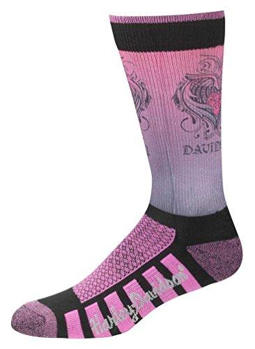 Harley-Davidson Womens Cushioned Wool Ride Socks, Pink D89098570-651
