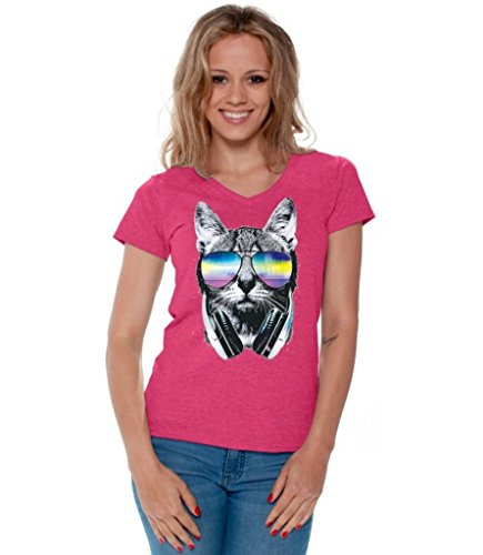 Awkwardstyles Women's Cat Music Sunglasses V-Neck T-Shirt Pet Shirt + Bookmark XL - Shirt V Sunglasses Neck