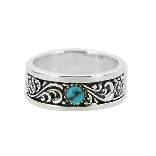 Aeici Sterling Silver Ring Vintage Retro Single Turquoise Right Hand Ring for Boy Silver Size 12