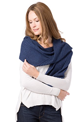 Fishers Finery Women's Cashmere Cable Knitted Scarf; Super Soft (Heather Navy) - Easy Cable Scarf