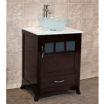 24 Bathroom Vanity Cabinet White Tech Stone Quartz Top Glass