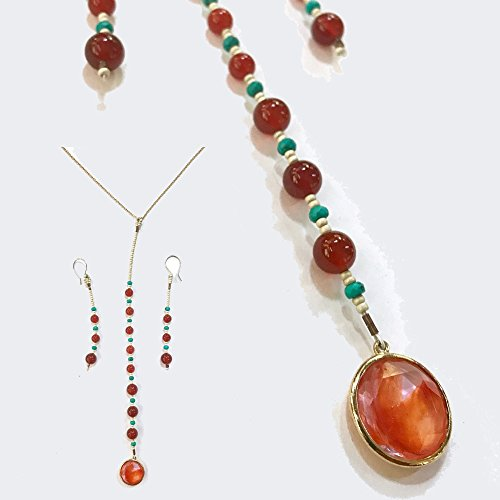 Turquoise & Carnelian Drop Pendant Necklace and Earring Set -