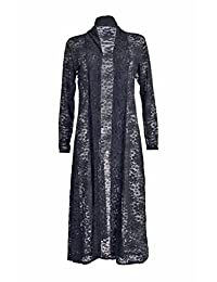 Womens Lace Front Open Long Sleeves Full Length Crochet Maxi Cardigan