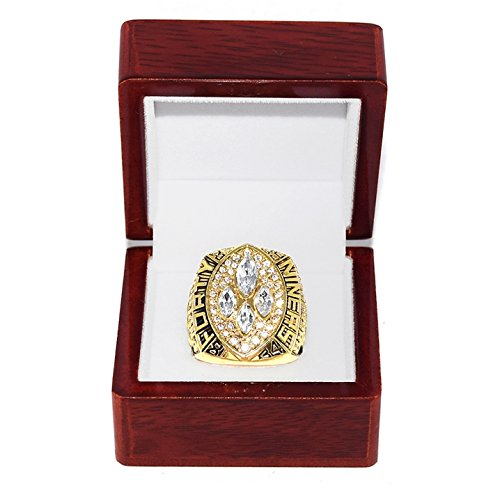 SAN FRANCISCO 49ERS (Joe Montana) 1989 SUPER BOWL XXIV WORLD CHAMPIONS MVP Vintage Rare & Collectible High-Quality Replica NFL Football Gold Championship Ring with Cherrywood Display Box