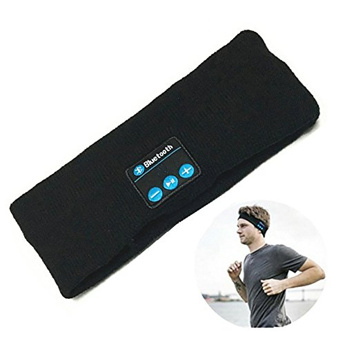Price comparison product image Bluetooth Headband, Ranger5 Wireless Sports Music Headwear Strap Outdoor Speaker and Headset Christmas Gifts, Black