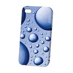 LJF phone case Case Fun Apple iPhone 4 / 4S Case - Vogue Version - 3D Full Wrap - Blue Bubbles