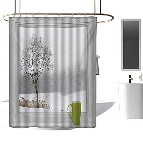Stevenhome Winter Shower Curtains 3D Digital Printing Green Teacup on Windowsill Forest Outdoors Snowstorm Scenic Countryside Bathroom Decor Set with Hooks Apple Green Beige White (Best Sander For Window Sills)