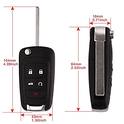 BESTHA 2 New Key Fob Replacement Ignition Flip Key Keyless Entry Remote Start OHT01060512 for Buick Chevrolet GMC Terrain: Automotive