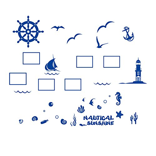 Cartoon Ocean Ship Wall Frame Stickers Seagull Sea Sail Tower The Underwater World Marine Life Bedroom Livingroom Peel & Stick Removable Wall Frame Family Decal Kids Children Adult (Pirate - Underwater Window