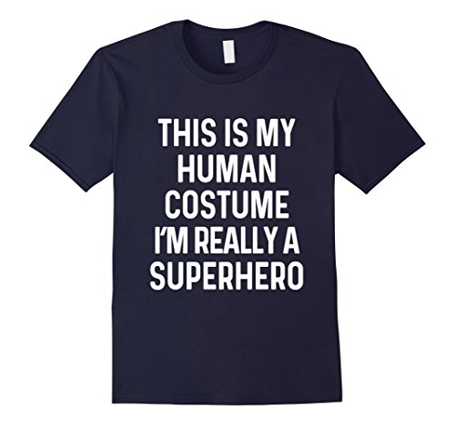 Mens Funny Superhero Costume Shirt Halloween Kids Adult Men Women Small Navy (Super Hero Costume Idea)