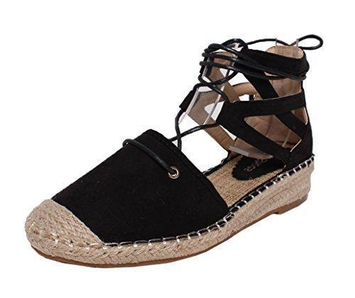 vacaciones de mujer verano de para Alpargata playa tacón cordones Zapatillas Lona SHU Negro de bajo B11 con y CRAZY mujer plano Cuña de qHxZwXa