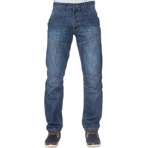 NEU KRUZE Herren Regular Fit Designer Mode Markiert Jeans 28-48 - Herren, Mid Steinwäsche, 36W x 34L