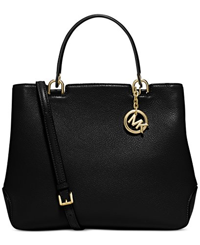 Michael Kors Women's Anabelle Leather Top Zip Tote, Black, Large by Michael Kors