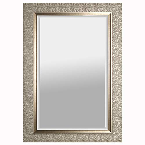 Mirrorize Canada Antique Mosaic Framed Wall Mirror| Vanity,Hallway,Bathroom, Bedroom | 27X43 | Silver| Rectangle| Large Accent Mirror
