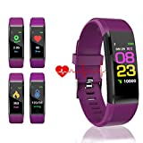 HK Fitness Tracker HR, Activity Tracker Watch with Heart Rate Blood Pressure Oxygen Monitor Waterproof Smart Bracelet Wrist Band with GPS Step Calorie Counter Pedometer Watch for Kids Women Men,Purple
