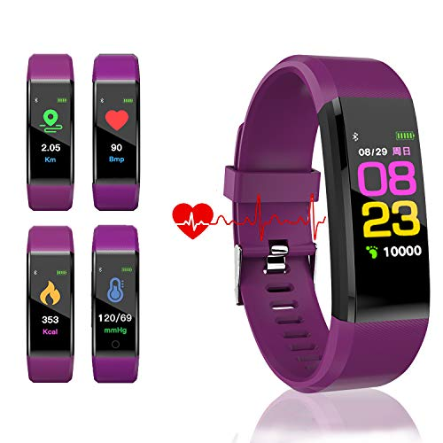 Continuous Monitor - HK Fitness Tracker HR, Activity Tracker Watch with Heart Rate Blood Pressure Monitor Waterproof Smart Bracelet Wrist Band with GPS Step Calorie Counter Pedometer Watch for Kids Women Men,Purple