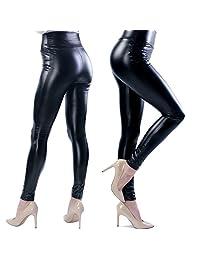 Ginasy Slim Women's Liquid Wet Look High Waist Thin Black Pants Leather Leggings