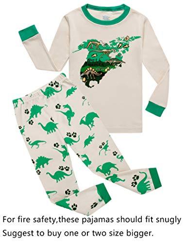 Dinosaur Big Boys Long Sleeve Pajamas Sets 100% Cotton Pyjamas Kids Pjs Size 12 Beige