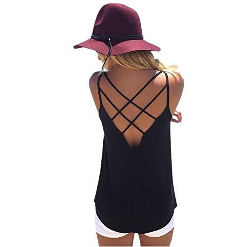 FarJing Fashion Sexy Womens U Neck Lace Trim Racerback Tank Tops Hollow Out Sport Vest (M, wBlack) (Boxy Lace)