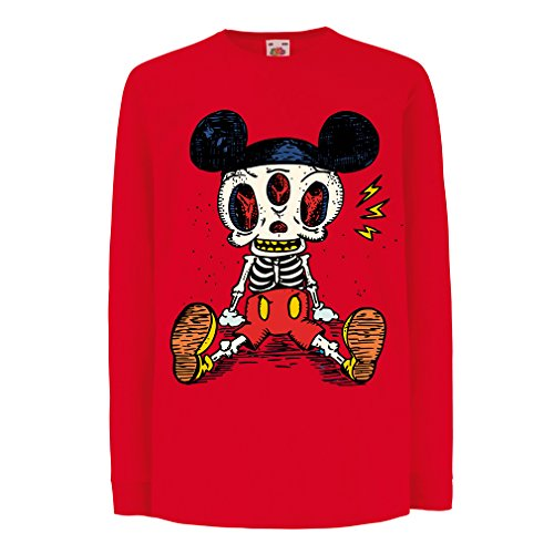 T-Shirt for Kids Mouse Skeleton Halloween Party Outfits Trick or Treat Death Skull Design (9-11 Years Red Multi Color)
