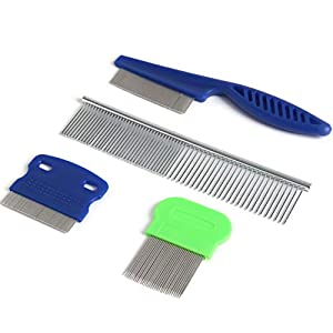 SBYURE Dog Tear Stain Remover Combs,Set of 4 Dog Grooming Comb,Tear Stain Remover for Dogs,Stainless Steel Grooming Dog Cat Comb Tool