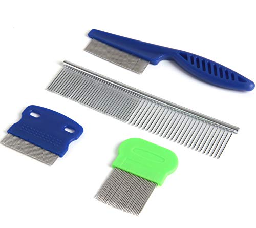 (SBYURE Dog Tear Stain Remover Combs,Set of 4 Dog Grooming Comb,Tear Stain Remover for Dogs,Stainless Steel Grooming Dog Cat Comb Tool)