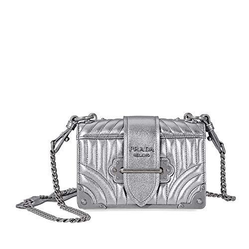 (Prada Women's Cahier Metallic Leather Shoulder Bag Silver)