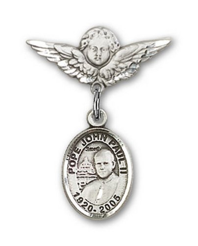 Icecarats Créatrice De Bijoux En Argent Sterling Pape Jean Paul II Charme Ange Pin Badge 7/8 X 3/4
