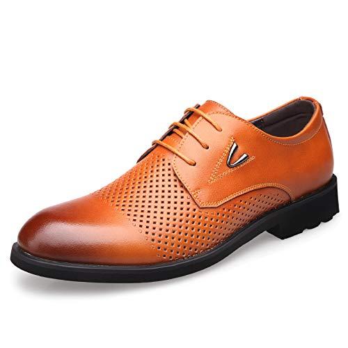 WFL Estate scarpe da uomo in pelle da uomo scarpe da uomo affari cava casual in pelle testa rotonda scarpe da uomo Giallo