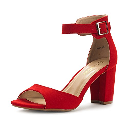 DREAM PAIRS Women's Hher Red Suede Low Heel Pump Sandals - 9 M US