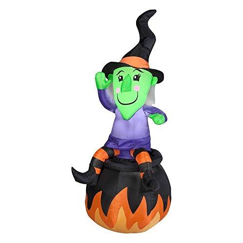 Gemmy Airblown Witch On Cauldron -