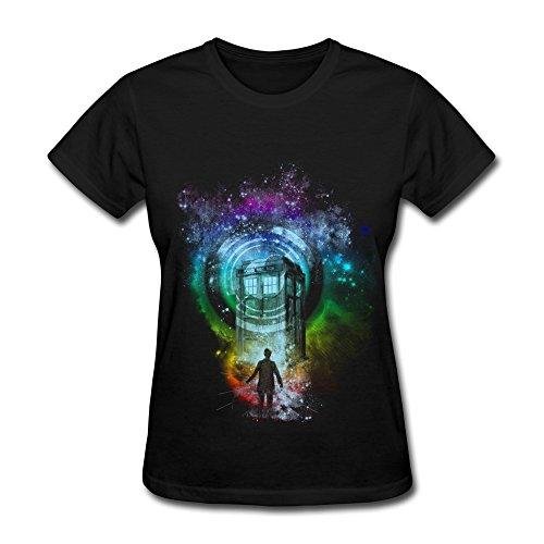 WSB Women's T Shirt Classic Next Doctor Who Before Tardis Design T-shirt Black Size M