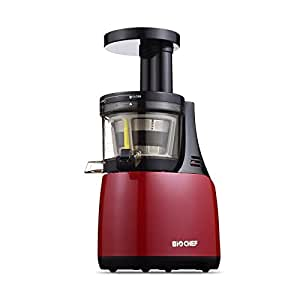 BioChef Synergy Slow Juicer, 150W, Masticating Fruit & Vegetable Slow Juicer, Quiet Motor with 10 Year Warranty (Red)