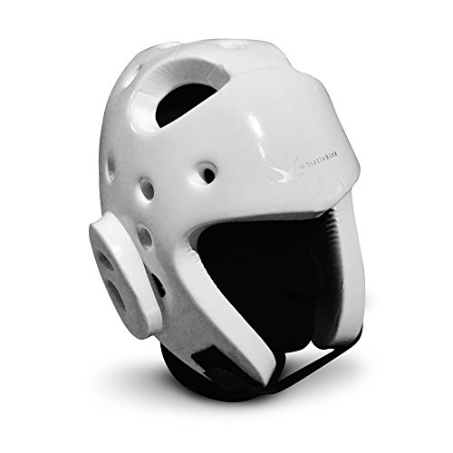 whistlekick Martial Arts Sparring Helmet - Karate Sparring Headgear (Stratus (White) Medium) with FREE Backpack Martial Arts Equipment Set Taekwondo Sparring Gear Set Karate Sparring Gear Set (Taekwondo Karate)