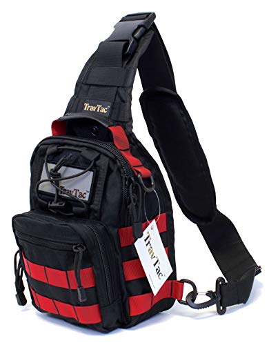 TravTac Stage II Small Sling Bag, Premium Everyday Carry Tactical Sling Pack 900D (Red on Black)