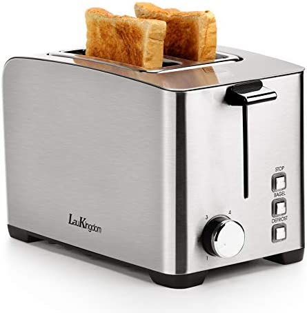 """Toaster 2 Slice Long Slot, LauKingdom Auto Pop-Up Stainless Steel 1.57"""" Extra Wide Slots Toaster with 6 Shade Settings and Defrost/Cancel Button, 850W 120V, Silver"""