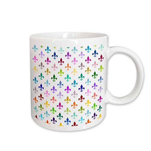 - 3dRose Rainbow Fleur De Lis Pattern, Colorful Classic Design Multicolor on White, Ceramic Mug, 11-Oz