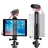 Aluminum iPad Tripod Mount Holder Attachment, by Ulanzi, iPad Tripod Adapter Bracket w Cold Shoe Mount 1/4 inch Screw for Tripod Monopod for iPad Pro, iPad Air, iPad Mini for iPad Video Recorging