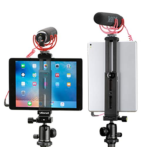 Aluminum iPad Tripod Mount Holder Attachment, by Ulanzi, iPad Tripod Adapter Bracket w Cold Shoe Mount 1/4 inch Screw for Tripod Monopod for iPad Pro, iPad Air, iPad Mini for iPad Video Recording