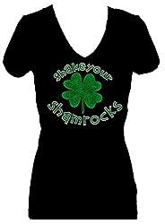 Shake Your Shamrocks Rhinestone V Neck Short Sleeve Tee Shirt