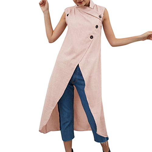 - Aniywn Women's Solid Color Split Cotton Linen Maxi Dress Loose Sleeveless Casual Button Dresses Pink