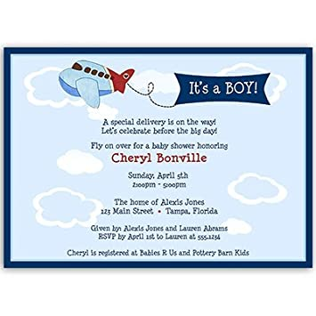 Airplane Baby Shower Invitations, Up Up And Away Invites, Little Pilot, Baby  Boy