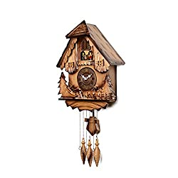 HENSE Lovely Large Brown Handcrafted Wood Cuckoo Wall Clock with Idyllic Atmosphere Dancing with Music, Decorative Rotating Spirits and Dolls Decor Clock( HP16)