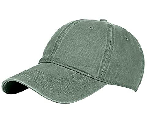 Glamorstar Classic Unisex Baseball Cap Adjustable Washed Dyed Cotton Ball Hat Army Green - Cotton Tennis Hat