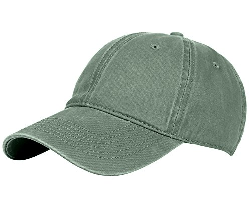 Glamorstar Classic Unisex Baseball Cap Adjustable Washed Dyed Cotton Ball Hat Army Green