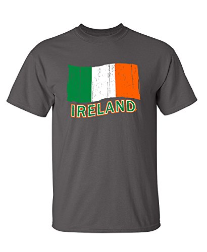 Feelin Good Tees Ireland Flag Graphic Funny Irish St Patrick's Day Flag T Shirt M Charcoal