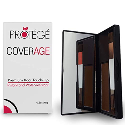 Premium Root Touch Up - CoverAge - Instant Temporary Root Concealer to Cover Up Roots and Grays Between Salon Trips - Water Resistant - Color Roots like Magic Without Spray - Brown (Gray Color Shadow)