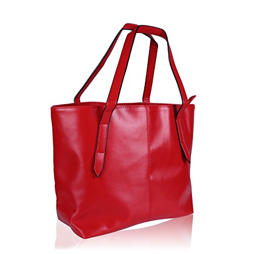 HDE Womens Leather Tote Bag Carryall Handbag Purse (Bright -