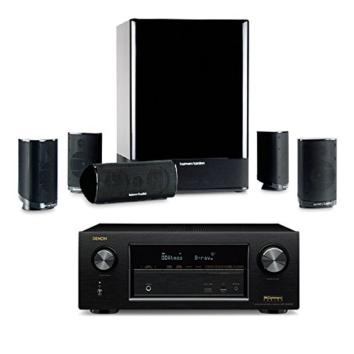 Harman Kardon HKTS 15 5. 1-channel Home Theatre Speaker System with Denon AVR-X 2300W by HKTS
