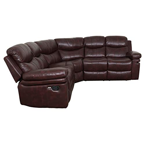 Brooklyn Recliner Sectional Sofa with 2 USB Ports, 2 Stainless Steal Cup Holders, Soft Air Leather (Vintage Wine).